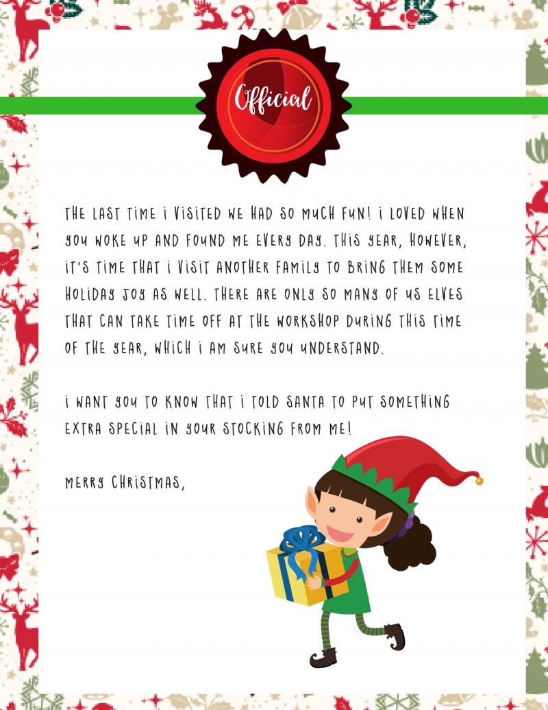 Elf On The Shelf Goodbye Letter : Free Printable - - Free Printable Elf On The Shelf Letter