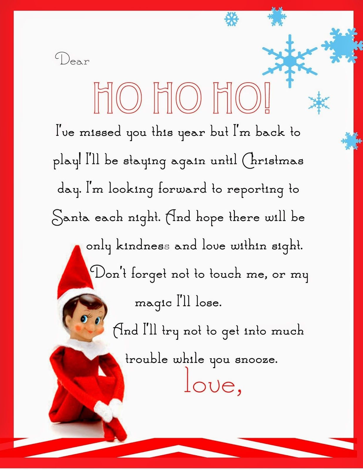 Elf On The Shelf Letter {Free Printable} | Christmas | Elf On The - Free Printable Elf On The Shelf Letter
