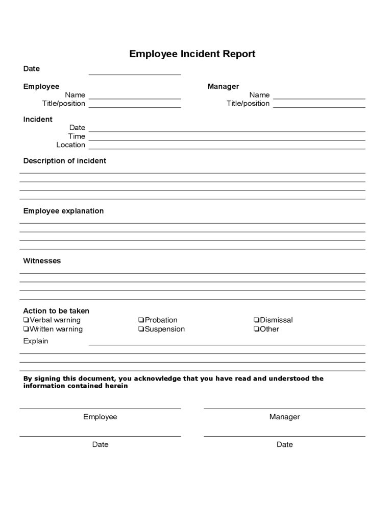 Employee Incident Report - 4 Free Templates In Pdf, Word, Excel Download - Free Printable Incident Report Form
