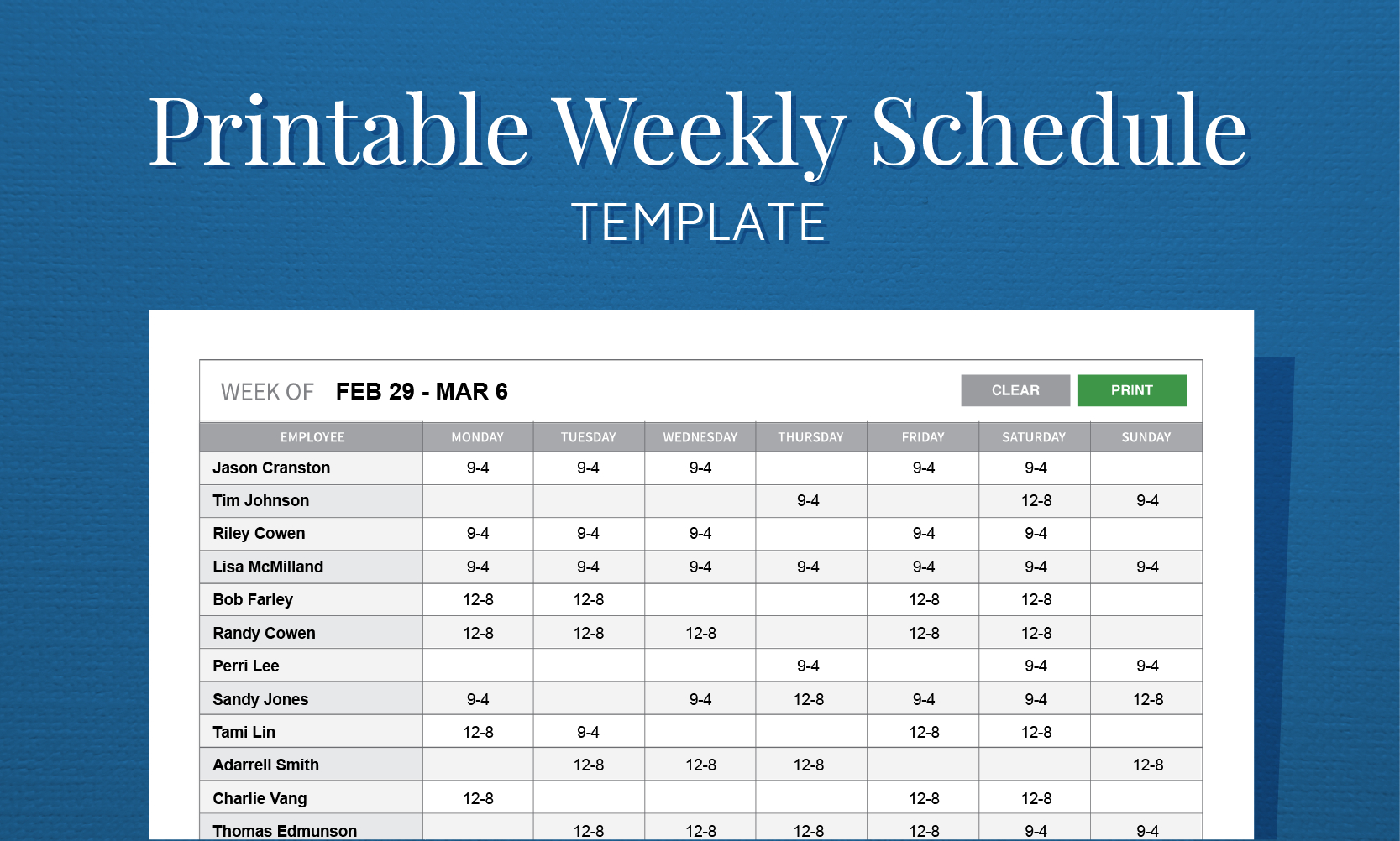 Employee Schedule Maker Template Free Printable Weekly Work For - Free Printable Work Schedule Maker