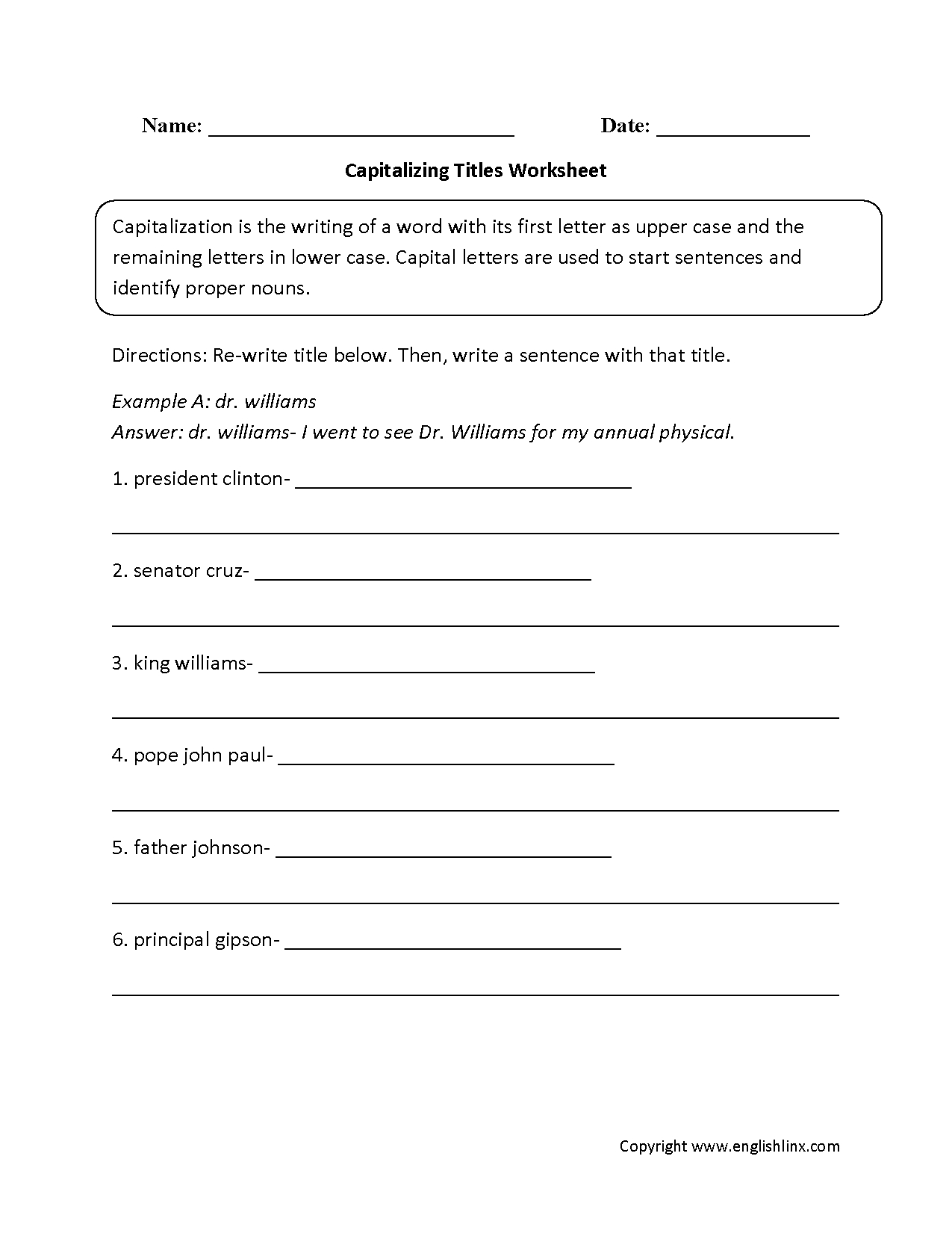 Englishlinx | Capitalization Worksheets - Free Printable Itbs Practice Worksheets