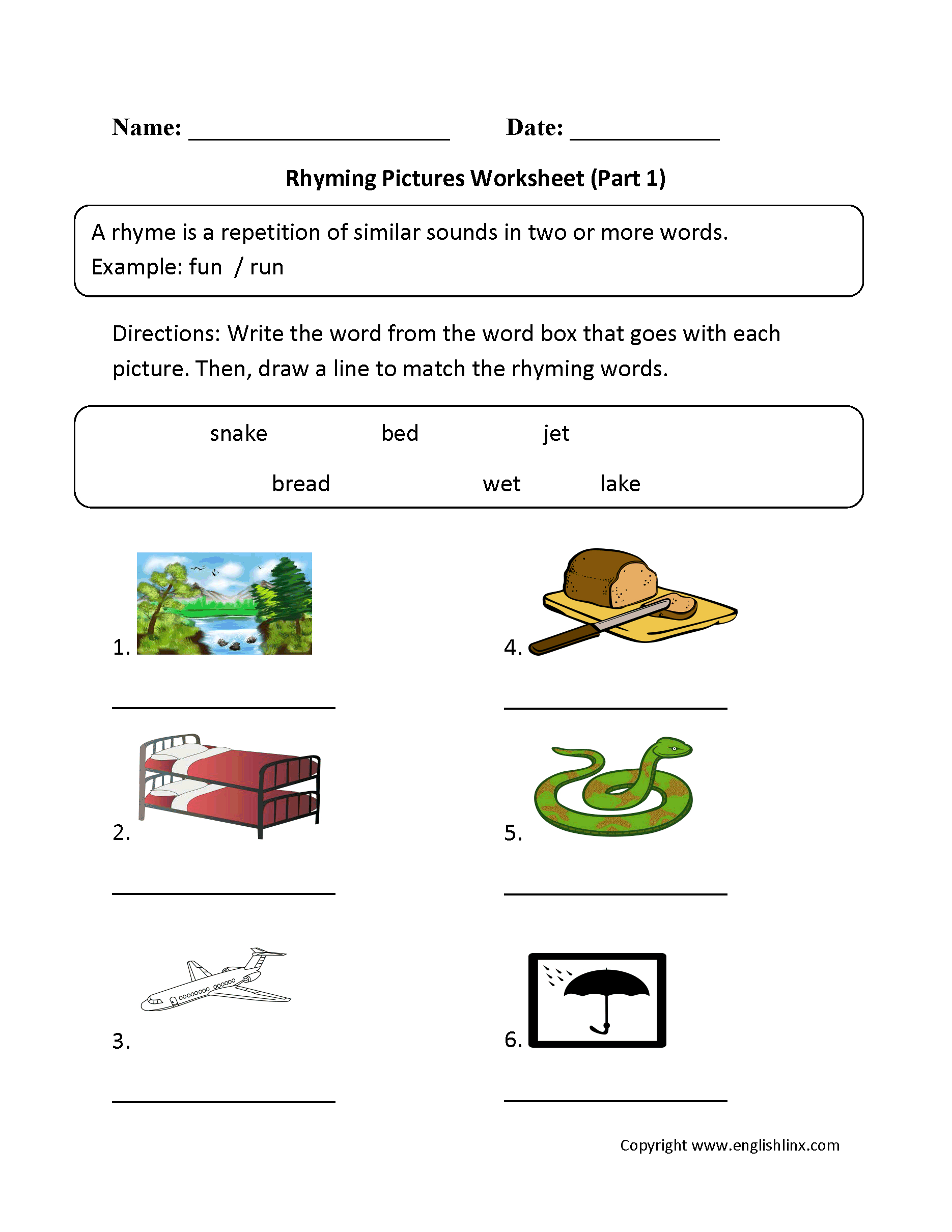 Englishlinx | Rhyming Worksheets - Free Printable Rhyming Words