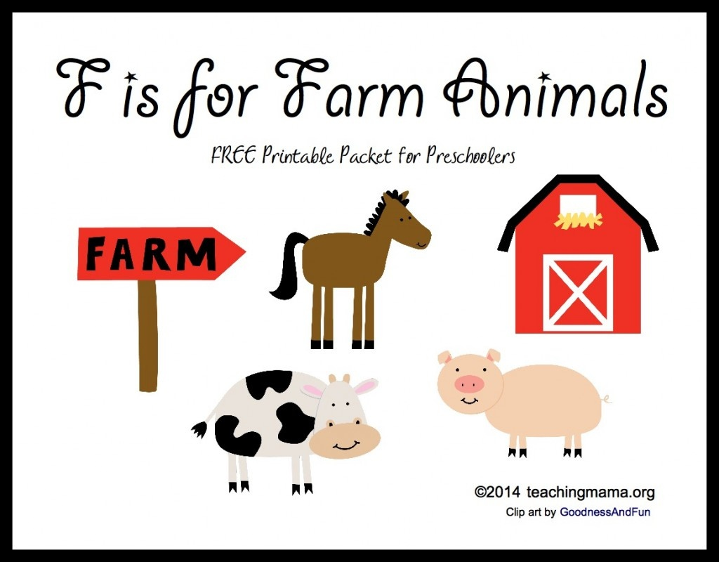 F Is For Farm Animals -- Letter F Printables - Free Printable Farm Animals