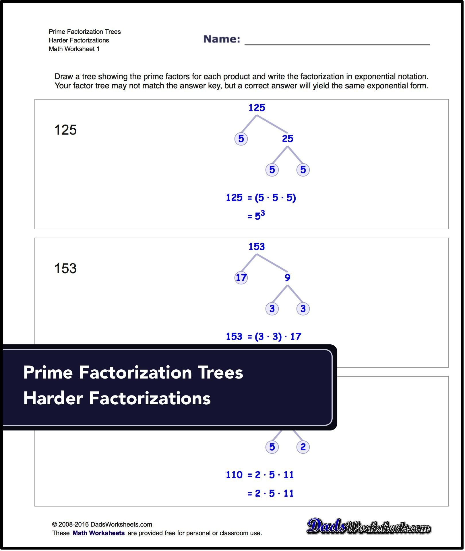 Factorization, Gcd, Lcm For Prime Factorization Trees: Harder - Free Printable Lcm Worksheets