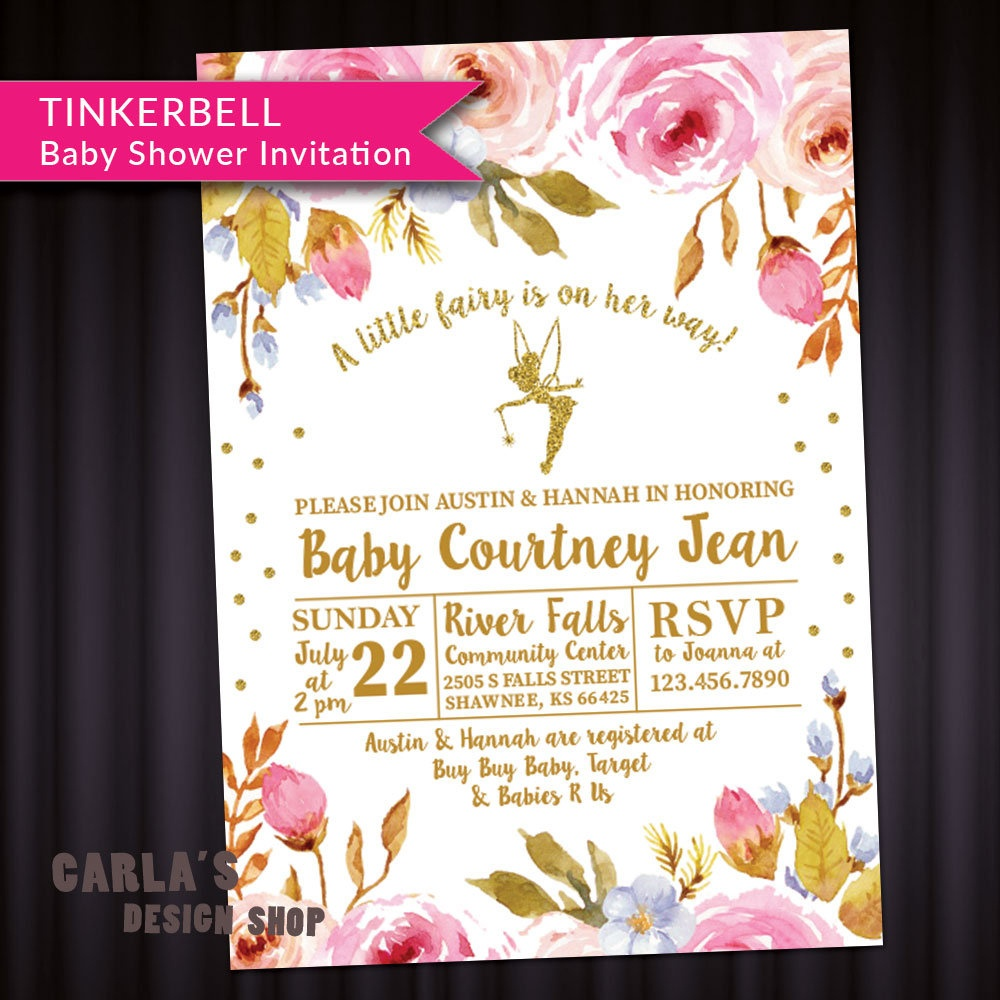 Fairy And Floral Theme Baby Shower Invitation With Tinkerbell | Etsy - Free Printable Tinkerbell Baby Shower Invitations