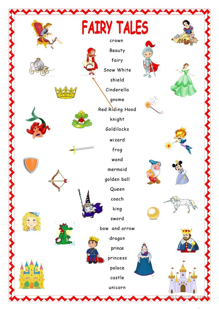 Fairy Tales.matching. Worksheet - Free Esl Printable Worksheets Made - Free Printable Disney Stories