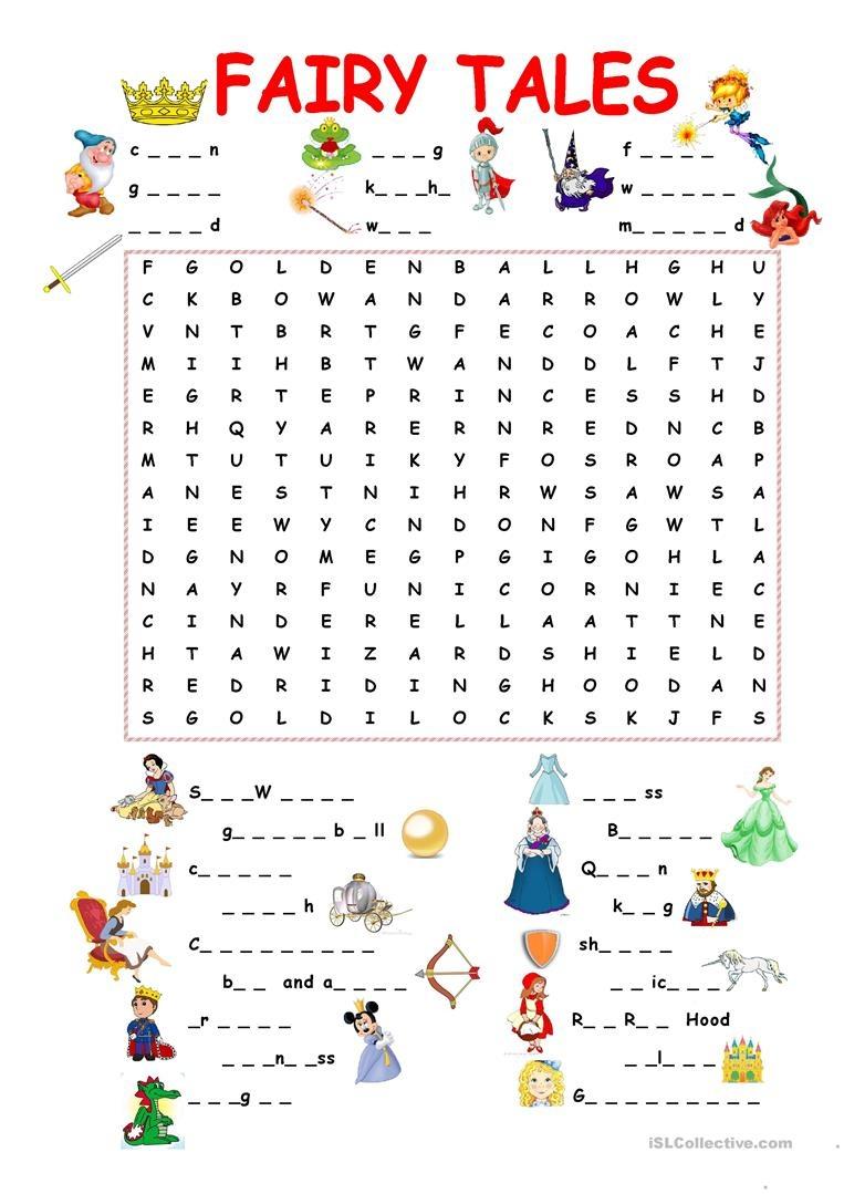 Fairy Tales.wordsearch Worksheet - Free Esl Printable Worksheets - Free Printable Disney Stories