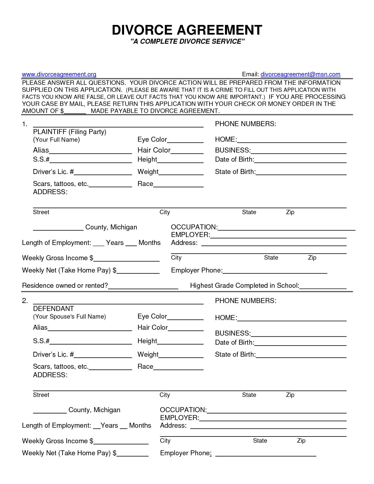 Fake Divorce Decree - Kaza.psstech.co - Free Printable Divorce Papers For Illinois