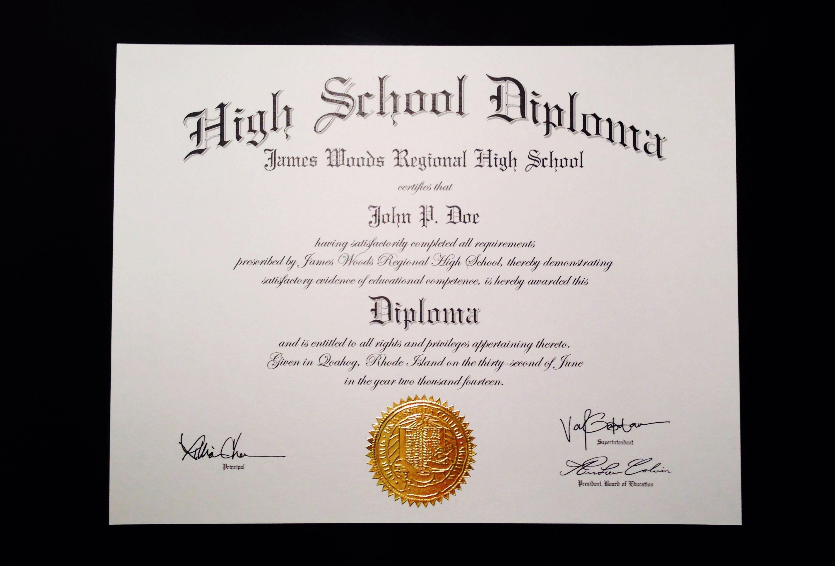 Fake+High+School+Diploma+Template | Jeffrey D Brammer | Fake High - Free Printable Ged Certificate