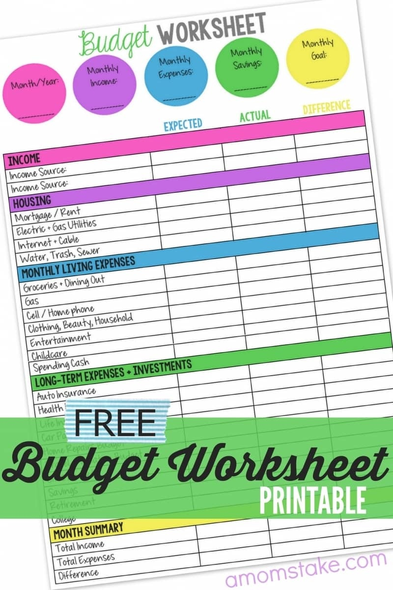 Family Budget Worksheet - A Mom's Take - Free Printable Family Budget