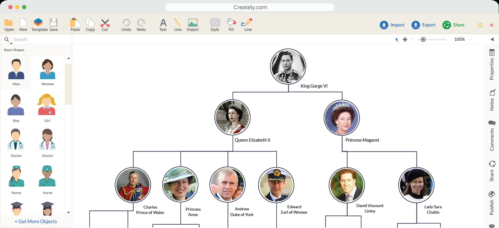 Family Tree Maker | Creately Family Tree Online | Creately - Family Tree Maker Free Printable