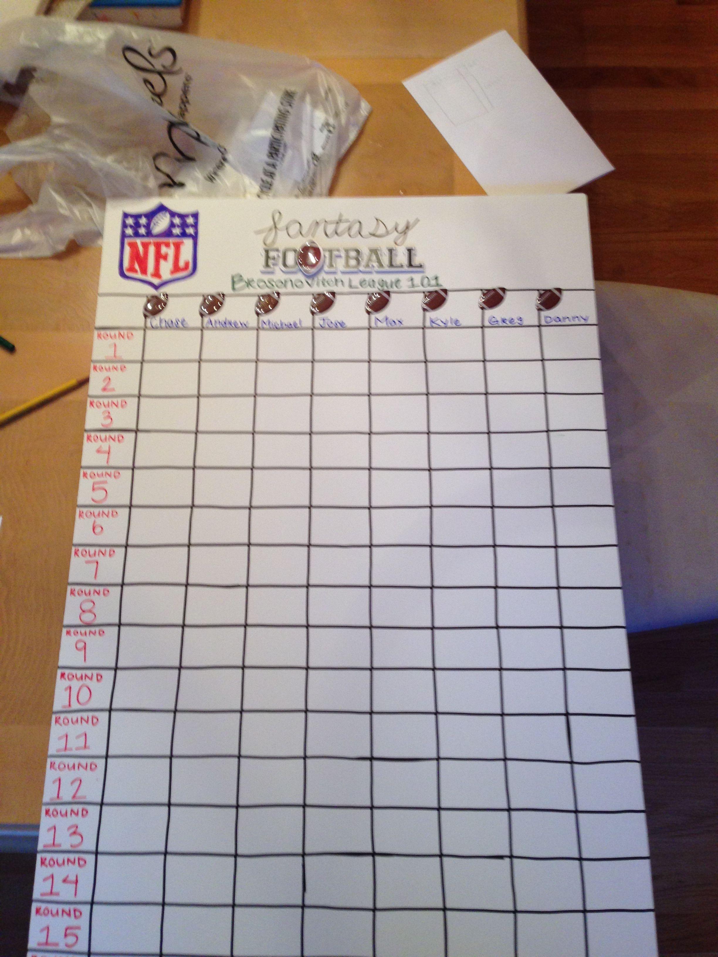 Fantasy Football Draft Board I Made For My Friends' Fantasy League - Free Fantasy Football Draft Kit Printable