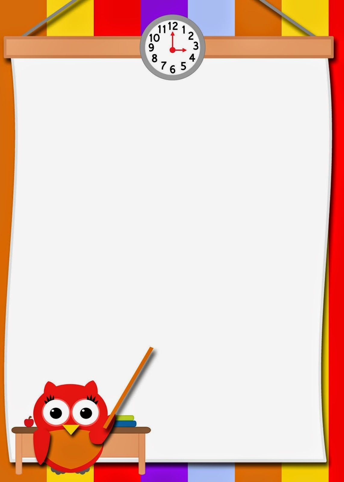 Fashionable Moms: Free Printable Teacher Owl Card   Owl Stationery - Free Printable School Stationery Borders