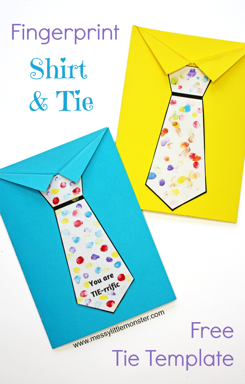 Father's Day Tie Card (With Free Printable Tie Template) - Messy - Free Printable Fathers Day Cards For Preschoolers
