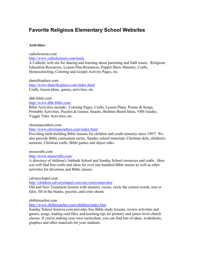 Favorite Religious Elementary School Websites - Free Printable Bible Games For Youth