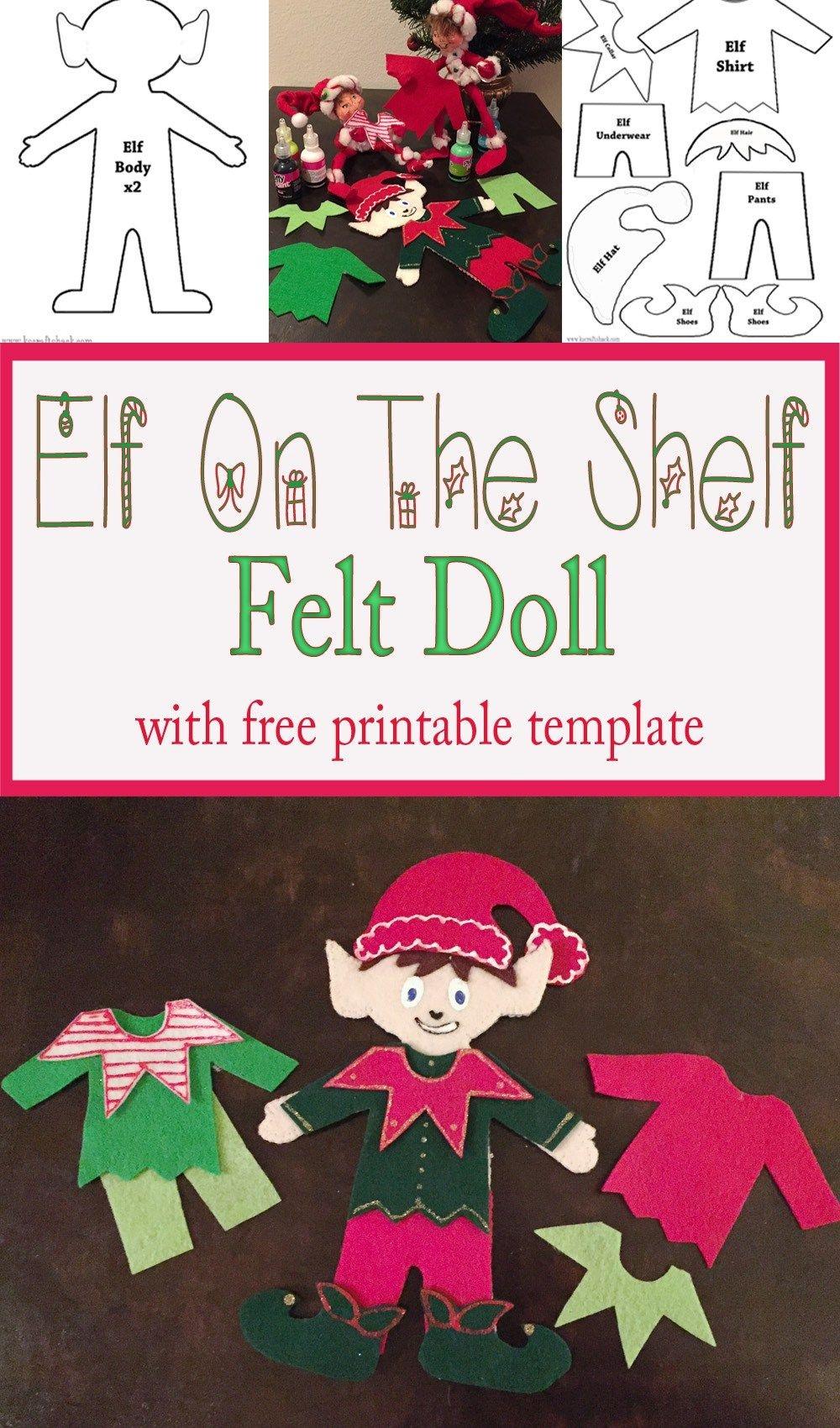 Felt Elf On The Shelf Doll   Christmas   Felt Christmas Ornaments - Free Printable Elf Pattern