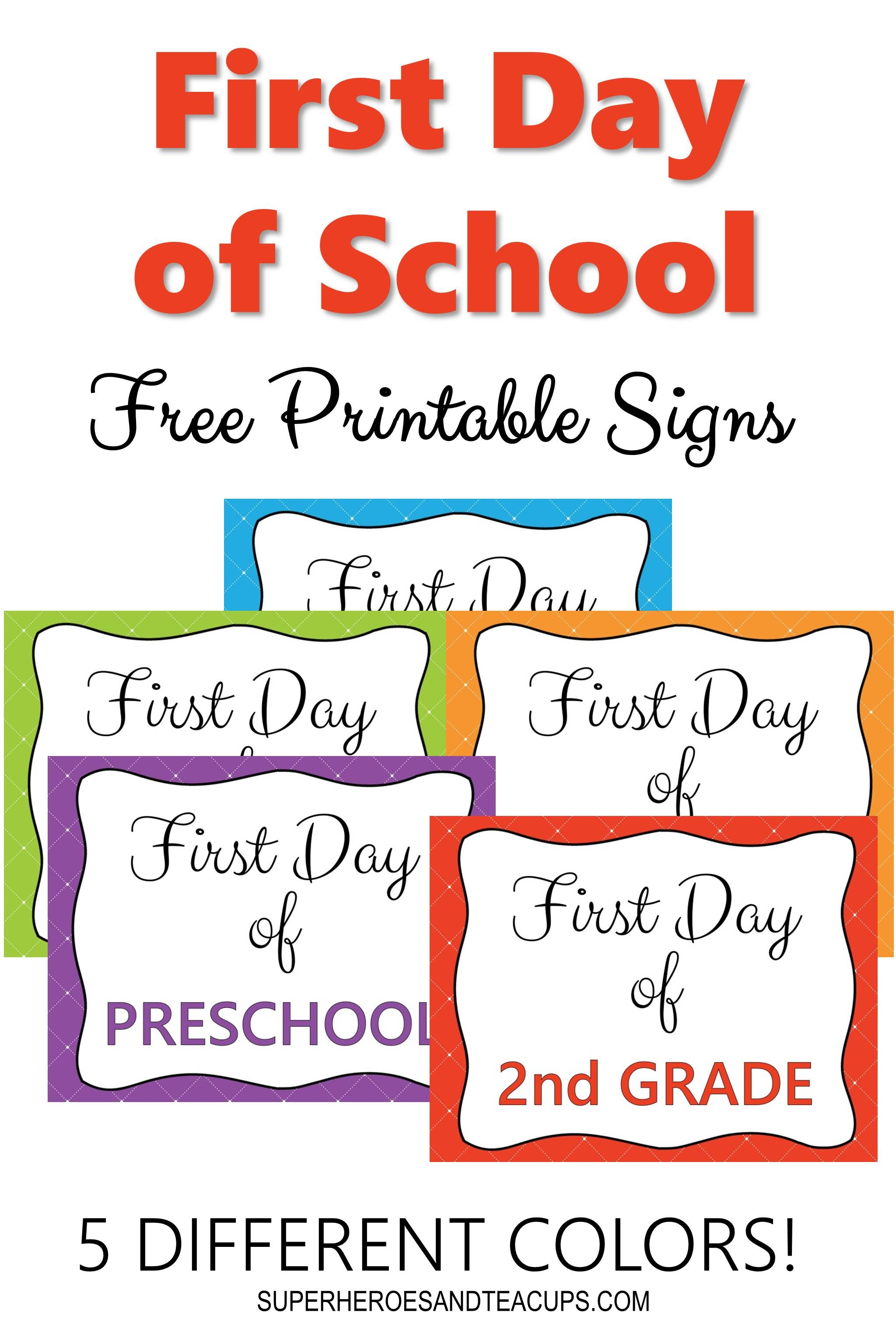 First Day Of School Signs Free Printable For Every Grade - Free Printable First Day Of School Signs