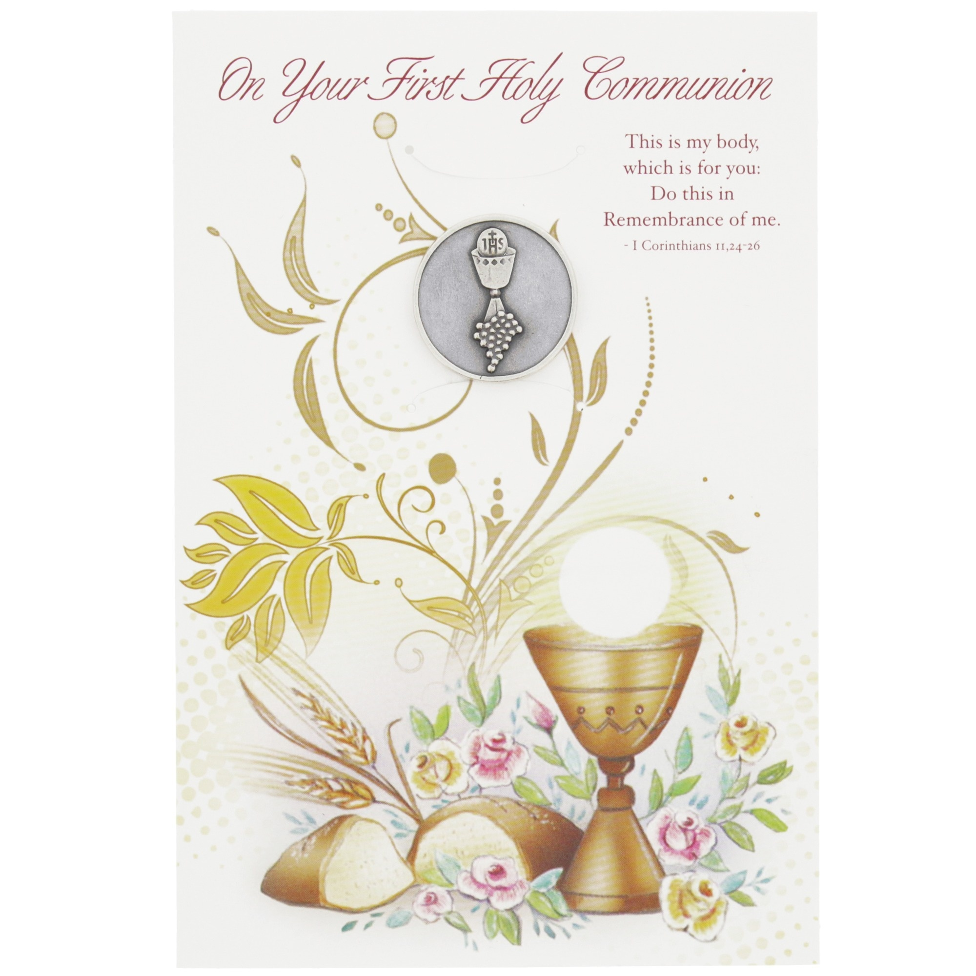First Holy Communion Greeting Card With Token | The Catholic Company - First Holy Communion Cards Printable Free