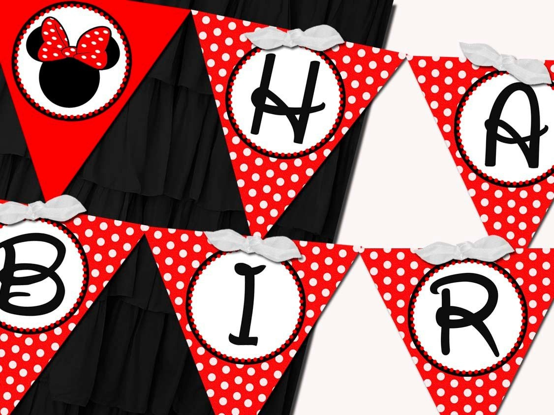 Flag Banner Girl Minnie Mouse Red Birthdaysticktoyourstory - Free Printable Minnie Mouse Birthday Banner