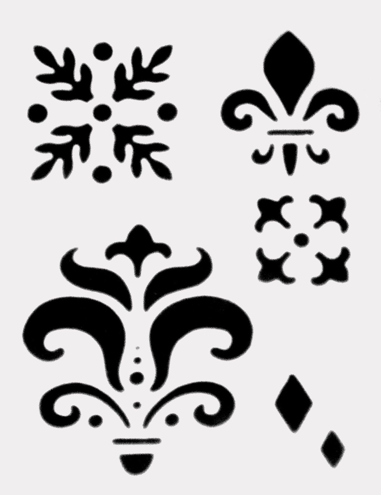 Fleur De Lis Stencil Pattern Group With 81+ Items - Damask Stencil Printable Free