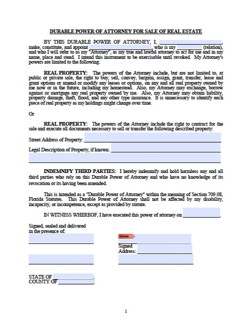 Florida Real Estate Only Power Of Attorney Form - Power Of Attorney - Free Printable Power Of Attorney Form Florida