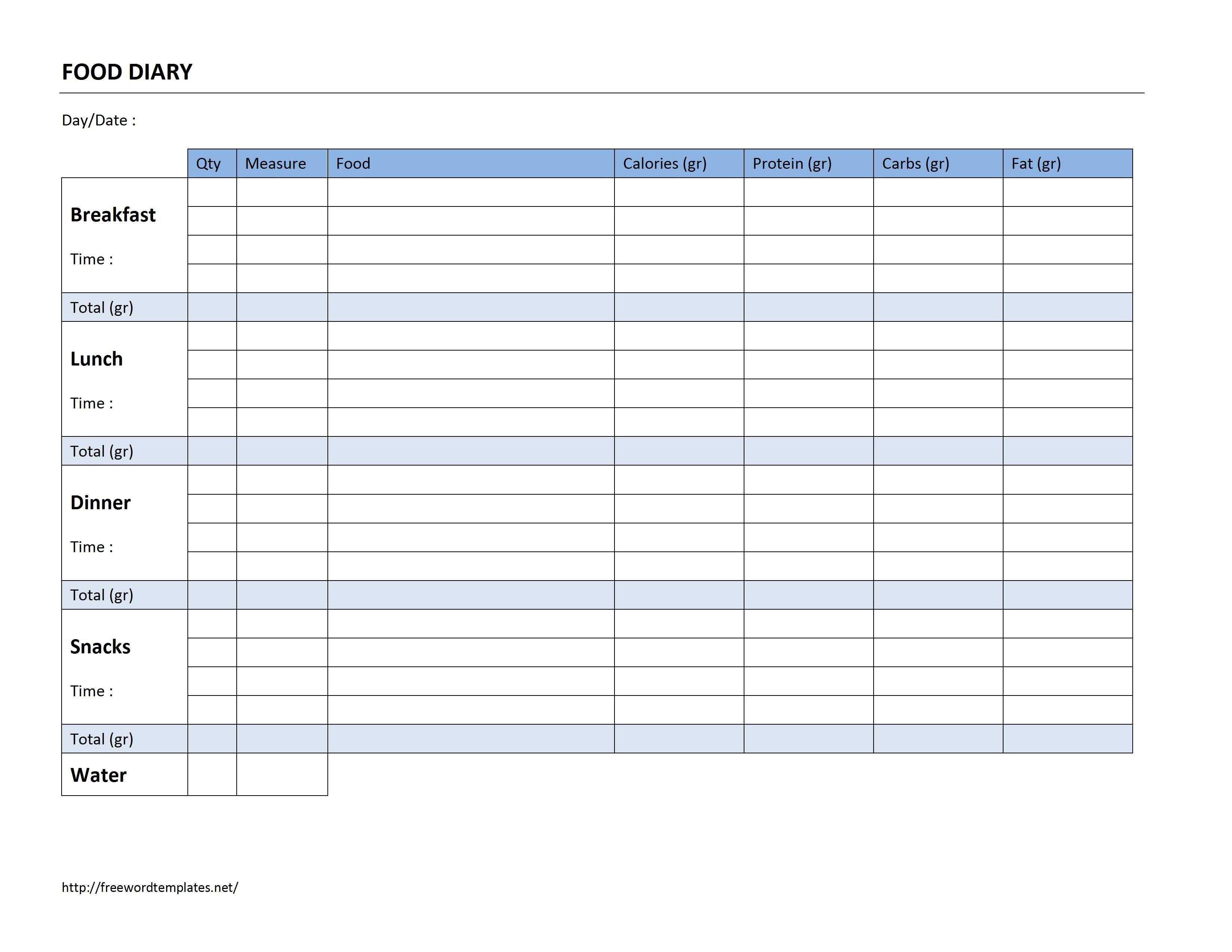 Food Diary Log - Free Printable Calorie Counter Journal
