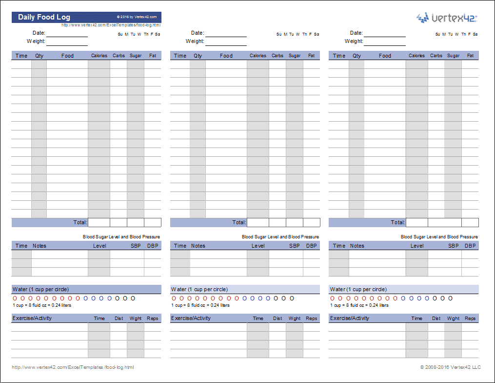 Food Log Template   Printable Daily Food Log - Free Printable Calorie Chart