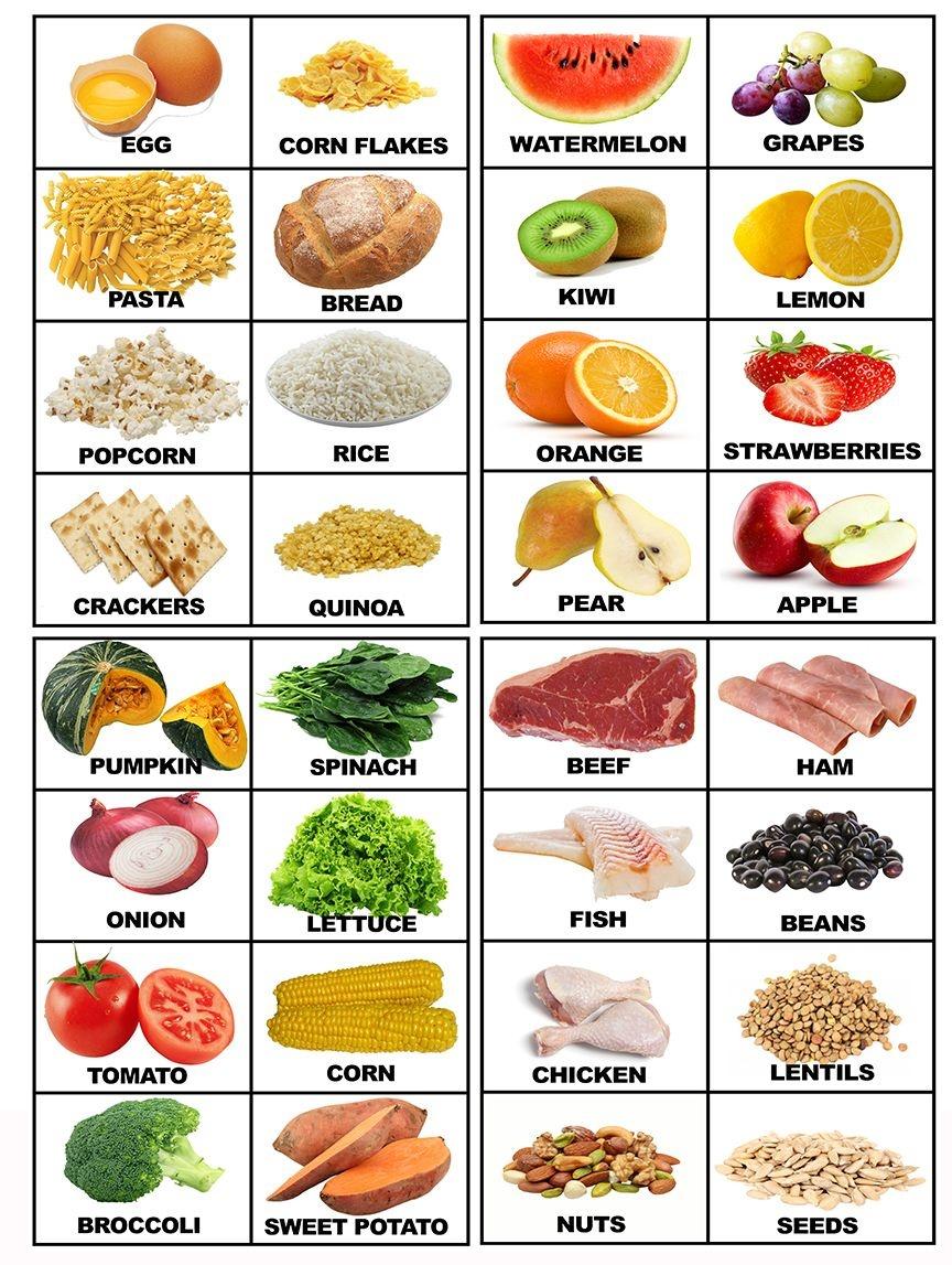 Food Printable Flashcards With Real Food | Food | Food Flashcards - Free Printable Picture Dictionary For Kids