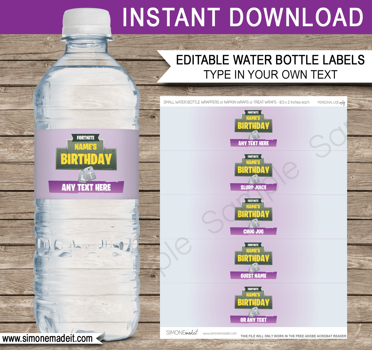 Fortnite Water Bottle Labels Template | Fortnite Birthday Party - Free Printable Water Bottle Labels For Birthday