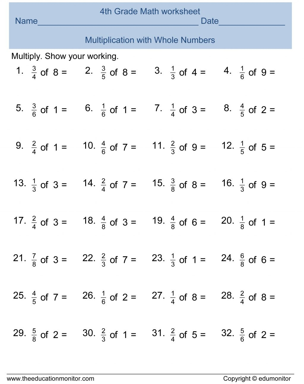 Fourth Grade Math Worksheets Multiplication Free Printable - Free Printable Math Worksheets For 4Th Grade