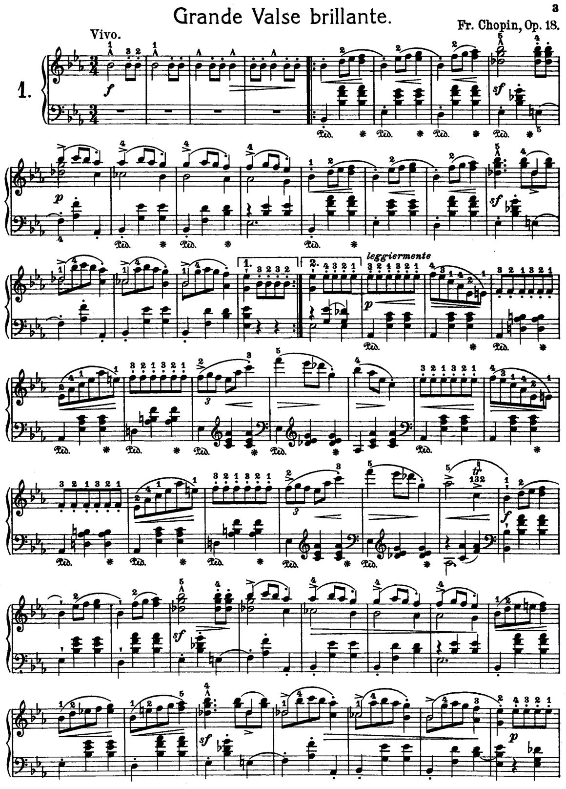 Frederic Chopin Grand Waltz Op.18 Free Printable Sheet Music | Misc - Free Printable Sheet Music