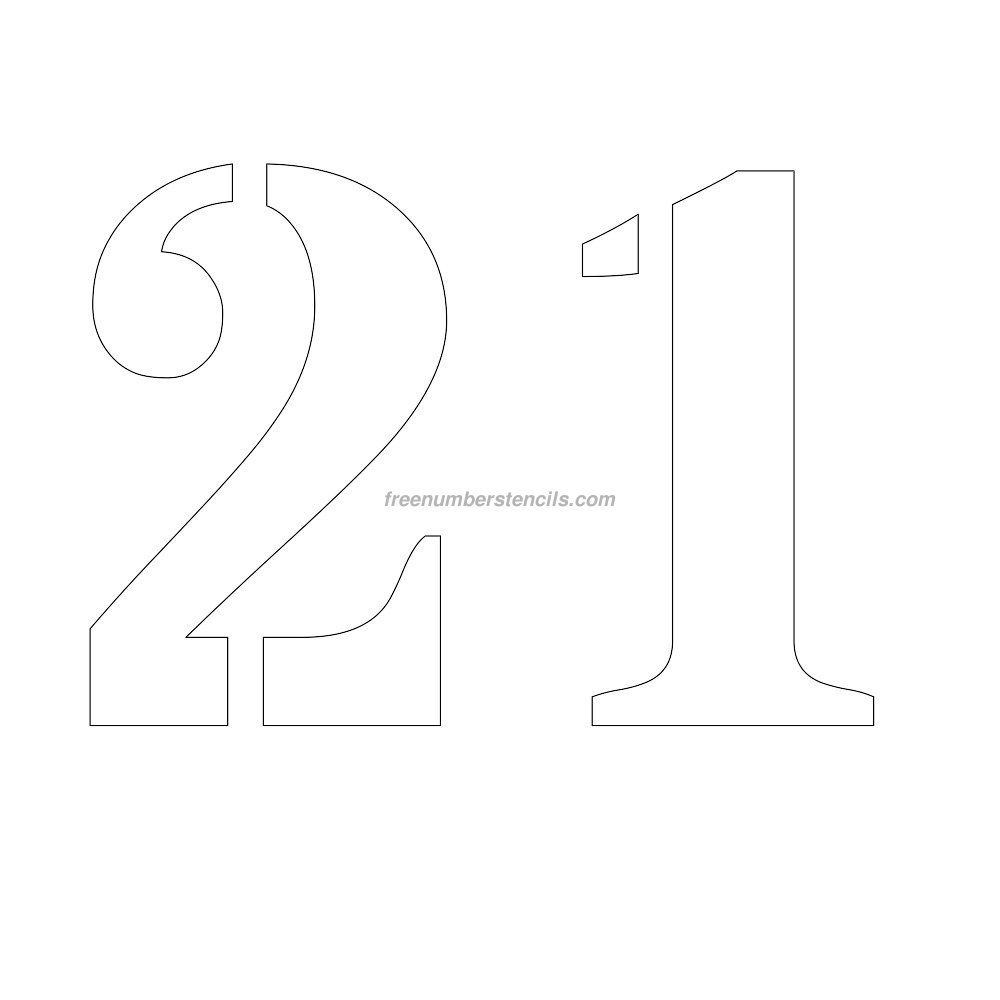 Free 11 Inch 21 Number Stencil | Numbers | Number Stencils, Free - Free Printable Number Stencils