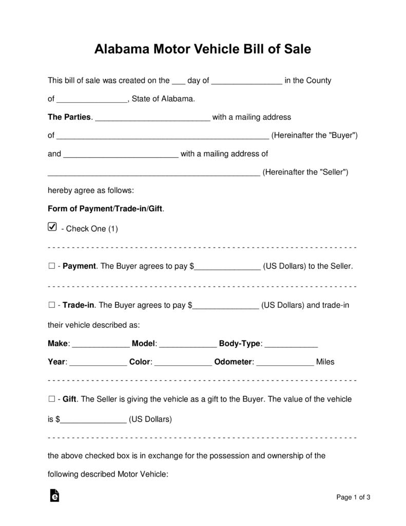 Free Alabama Motor Vehicle Bill Of Sale Form - Word | Pdf | Eforms - Free Printable Blank Auto Bill Of Sale