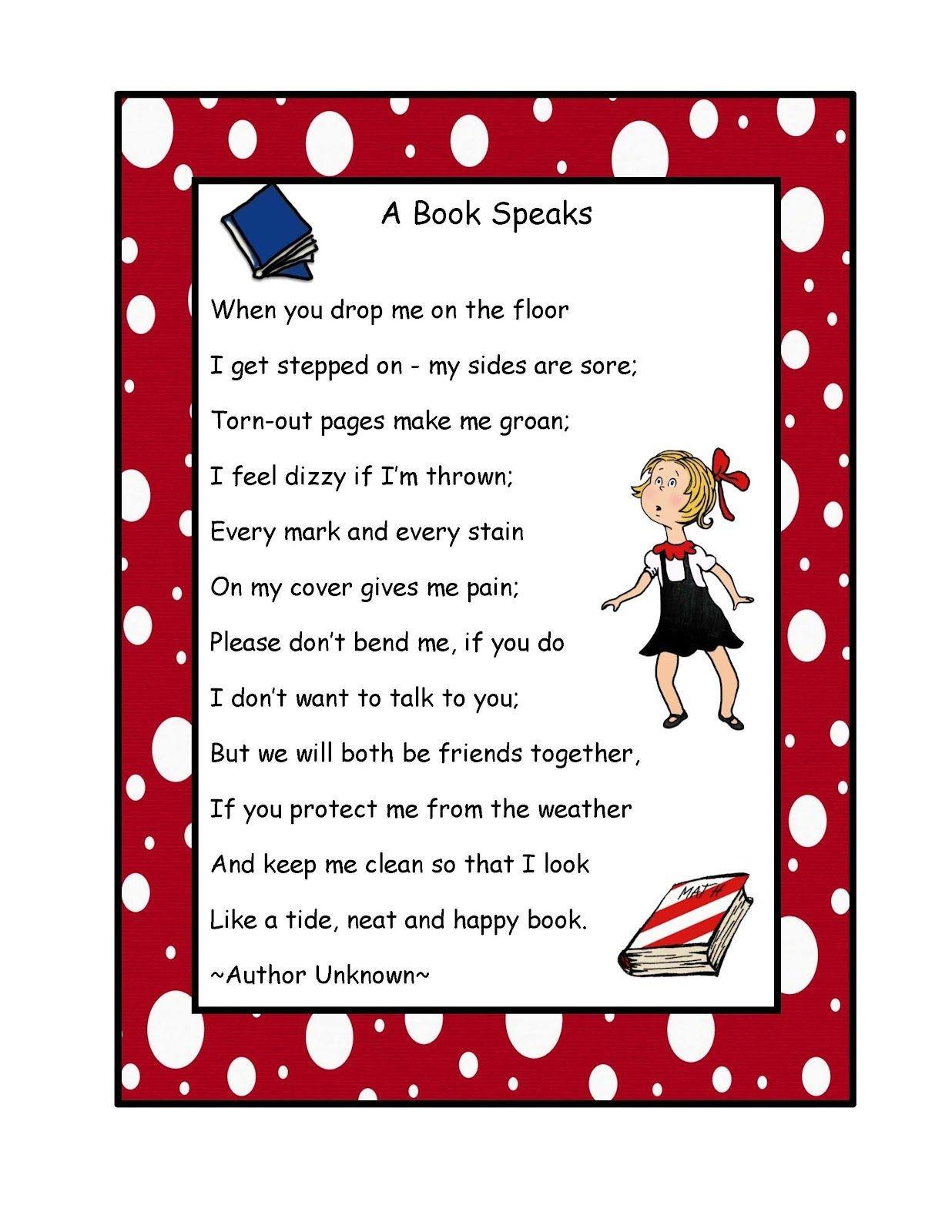 Free Book Poem Poster | Preschool Printablesgwyn | Book Care - Free Printable Poetry Posters