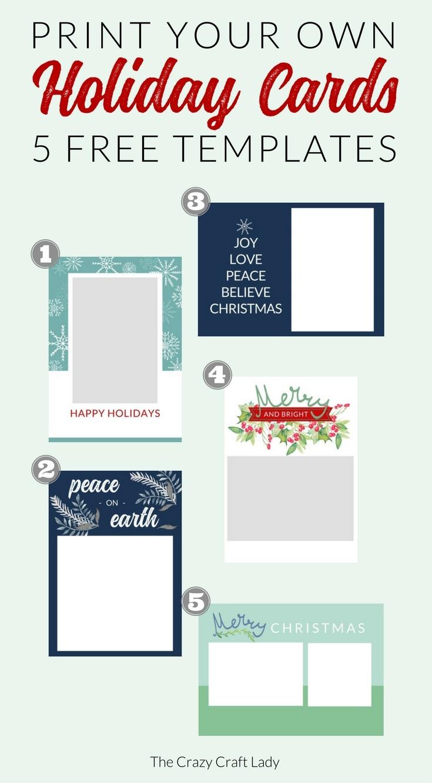 Free Christmas Card Templates - The Crazy Craft Lady - Free Printable Christmas Card Templates