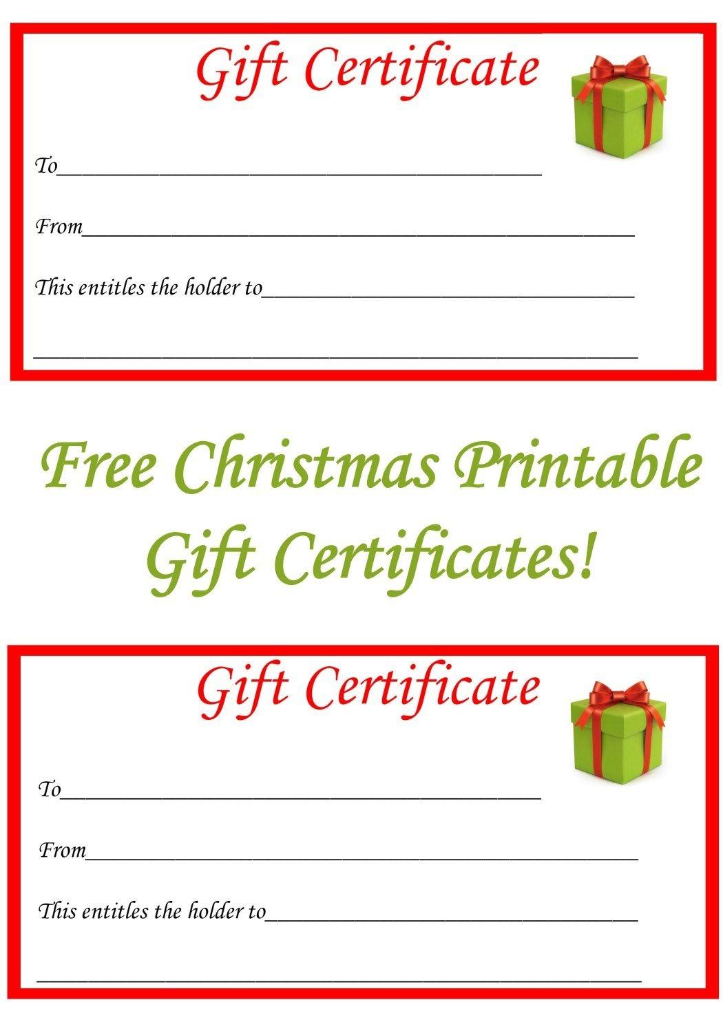 Free Christmas Printable Gift Certificates | Gift Ideas | Christmas - Free Printable Xmas Gift Certificates