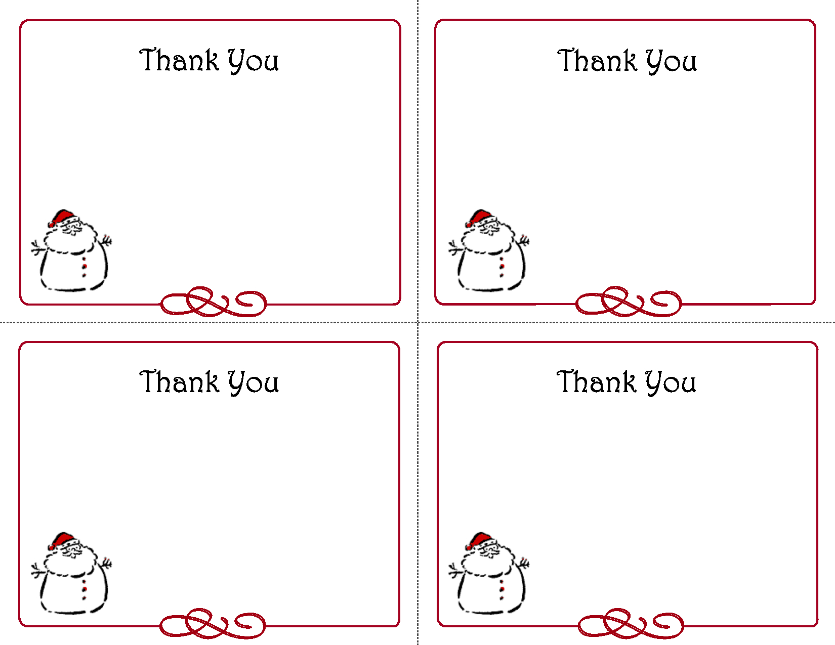 Free Christmas Thank You Notes Printable – Festival Collections - Free Christmas Thank You Notes Printable