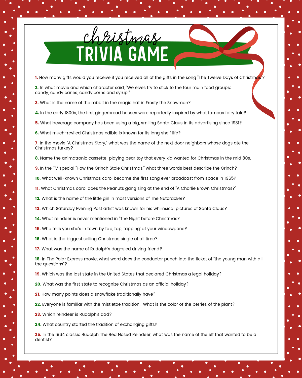 Free Christmas Trivia Game | Lil' Luna - Free Printable Christmas Games For Family Gatherings