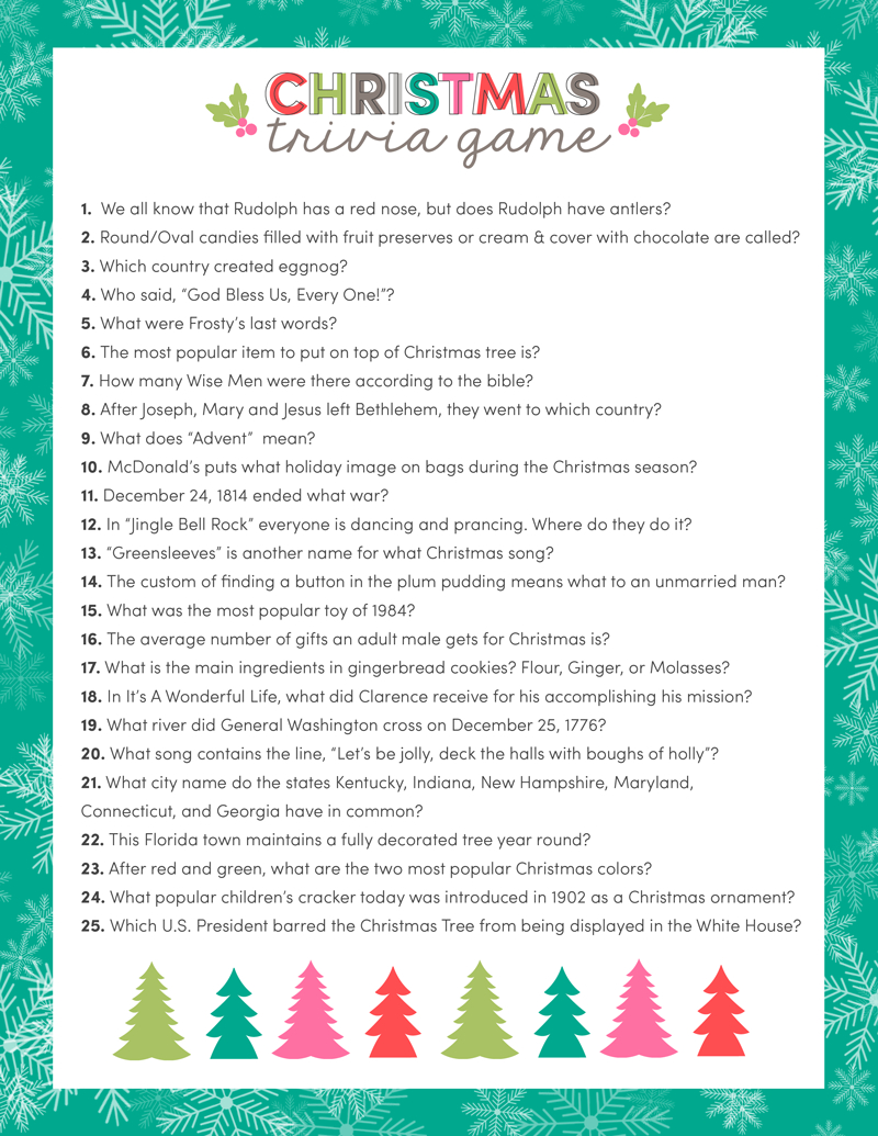 Free Christmas Trivia Game | Lil' Luna - Free Printable Trivia Questions For Seniors