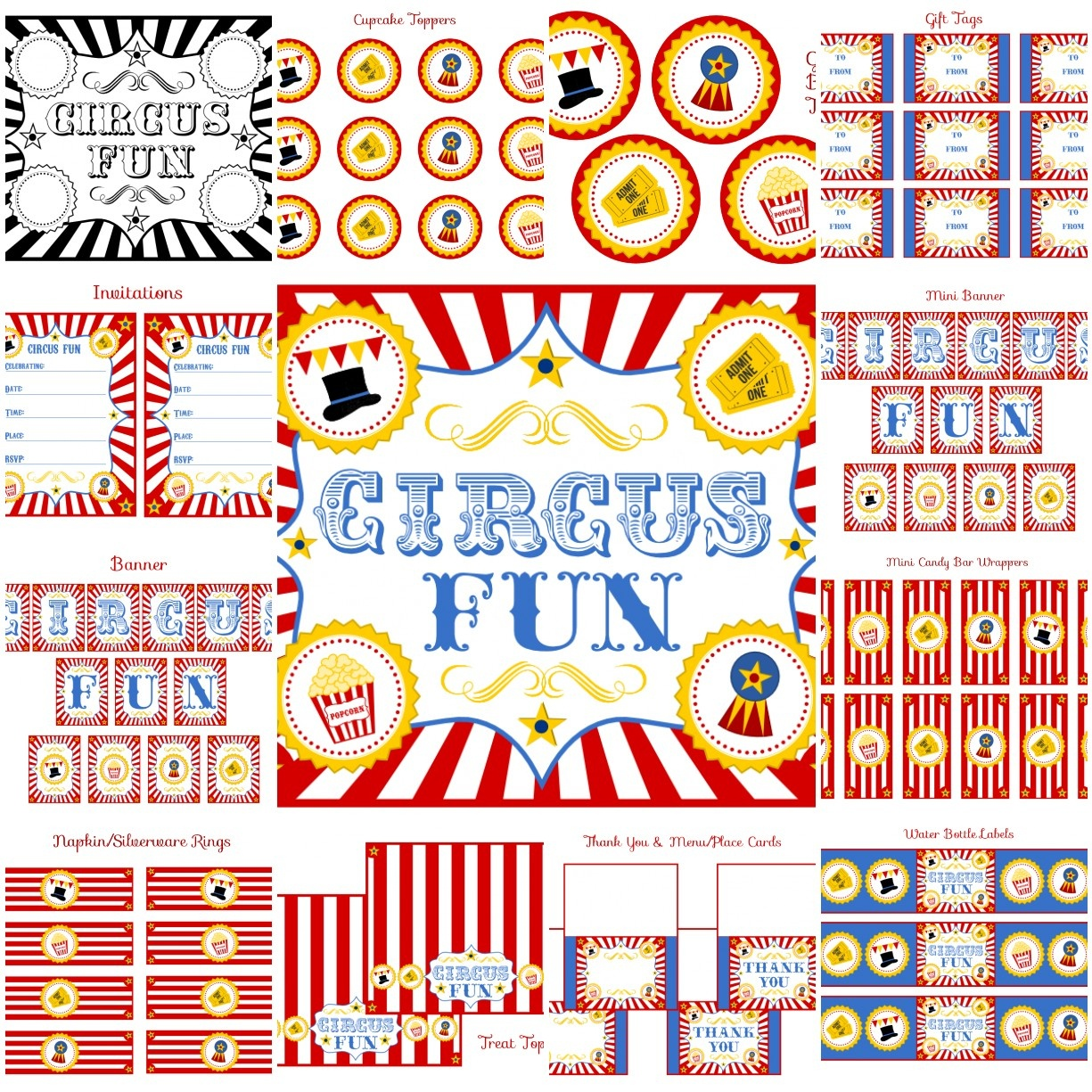 Free Circus Birthday Party Printables From Printabelle | Catch My Party - Free Printable Carnival Decorations