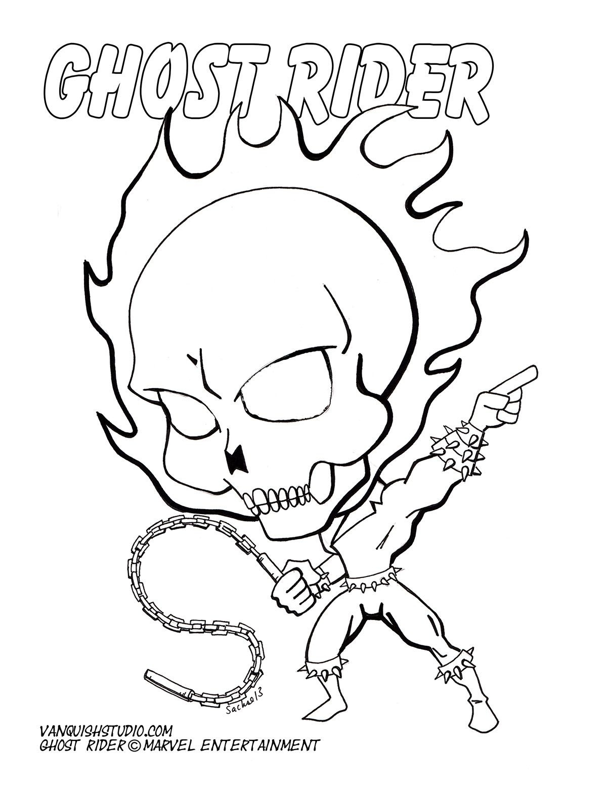 Free Coloring Page Of Chibi Ghostrider. | 48 Best Chibi-Fusion - Free Printable Ghost Rider Coloring Pages