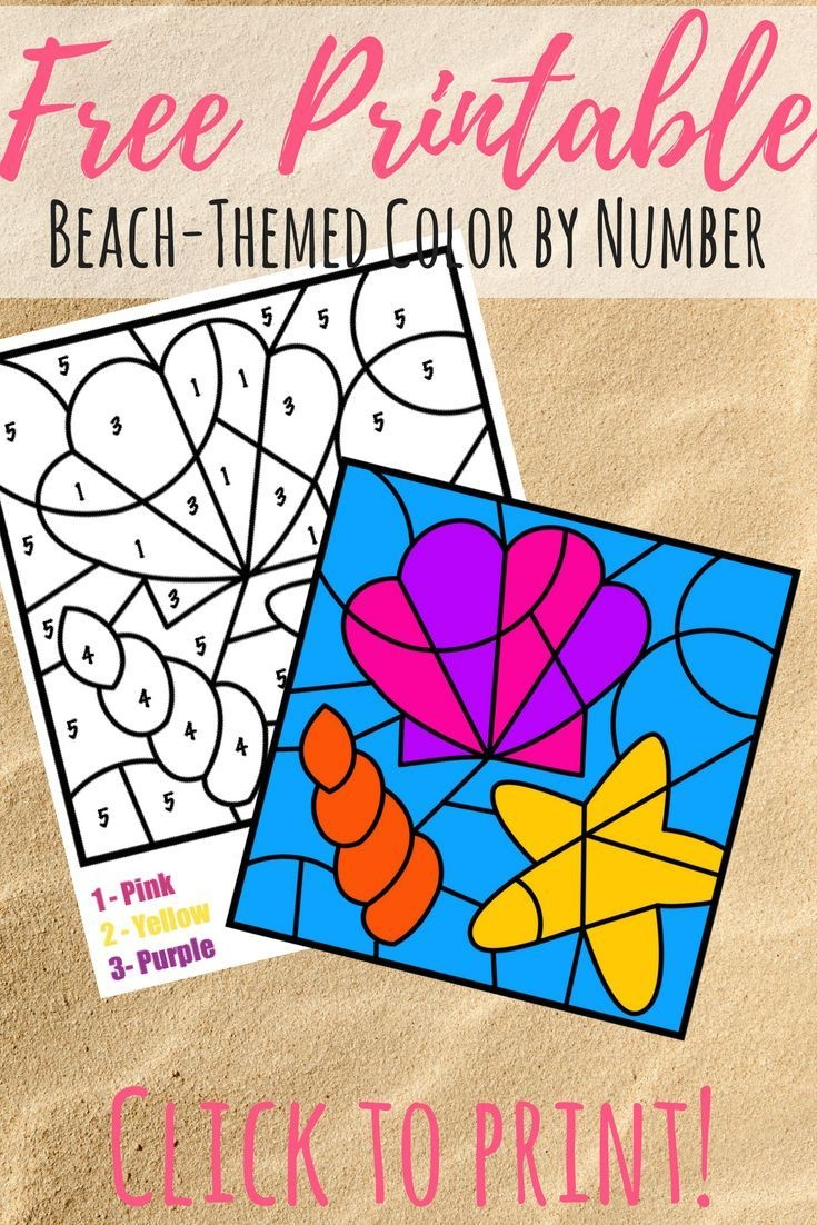 Free Colornumber Beach Printable | Printables For Kids | Summer - Free Printable Beach Pictures