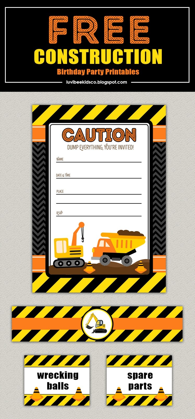 Free Construction Birthday Party Printables - Free Printable Construction Birthday Invitation Templates