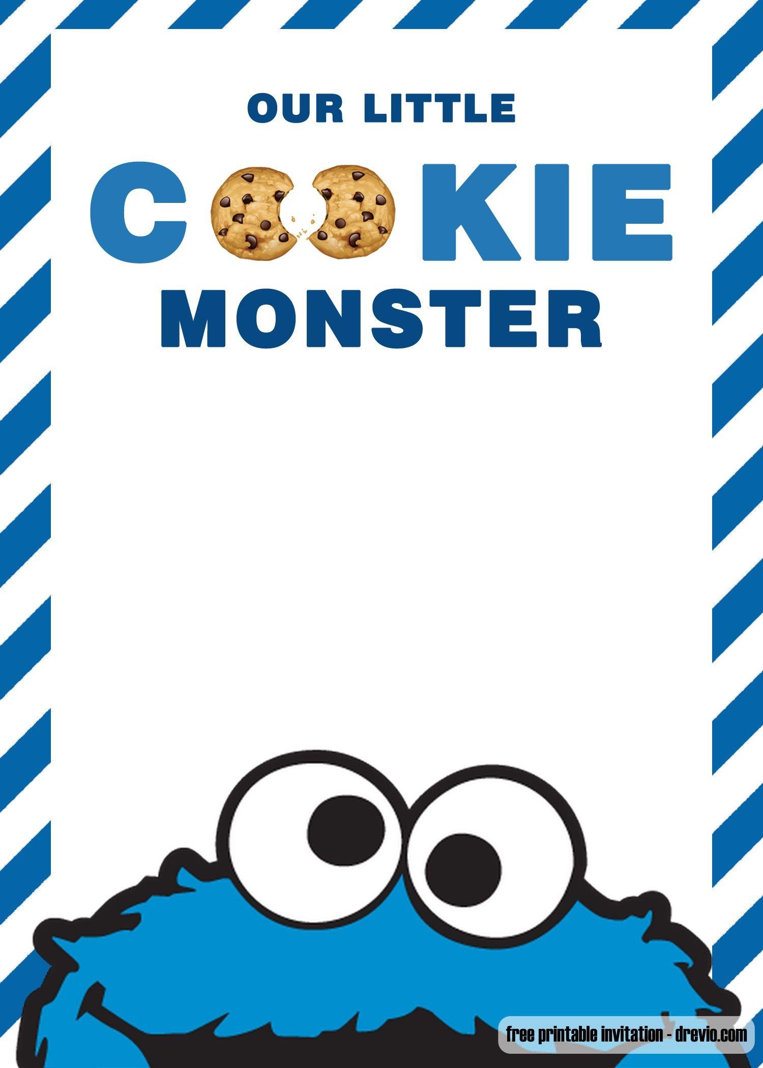 Free Cookie Monster Birthday Invitation Templates | Bagvania - Free Printable Cookie Monster Birthday Invitations