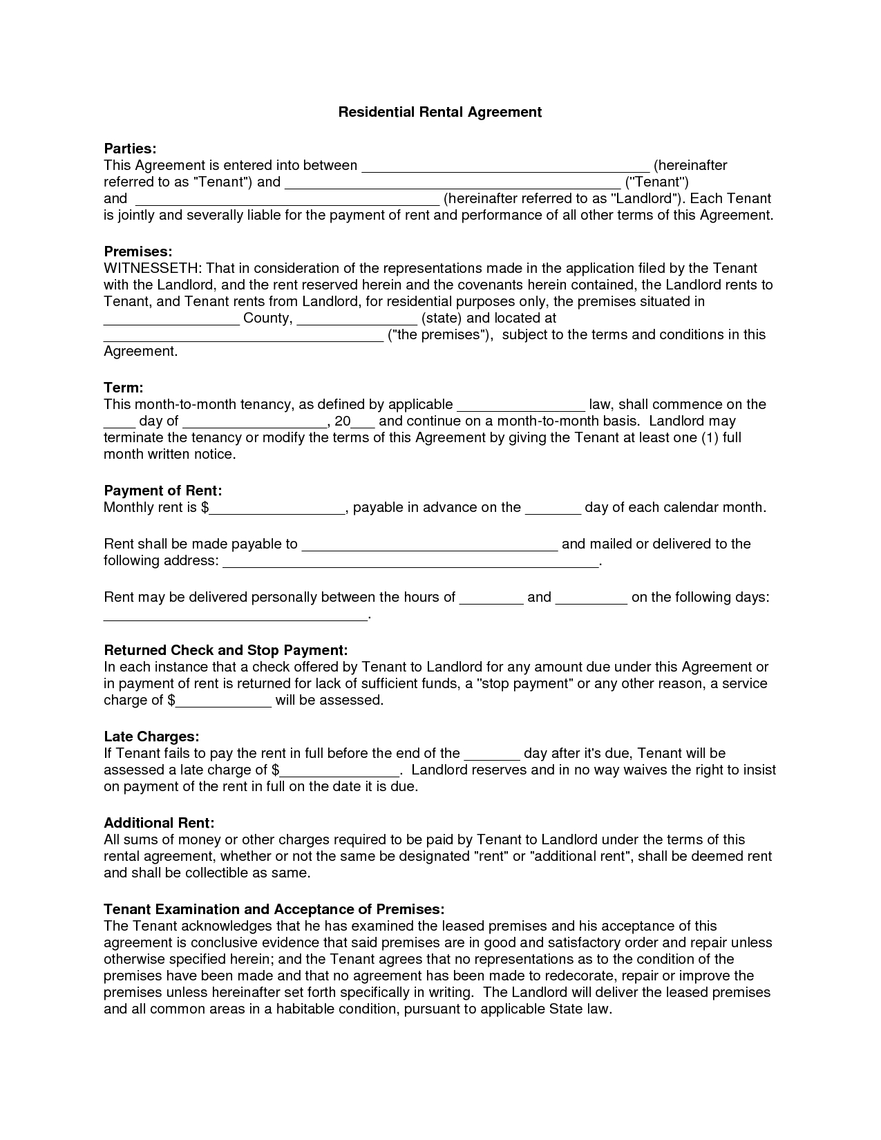 Free Copy Rental Lease Agreement | Residential Rental Agreement - Free Printable Lease Agreement Texas