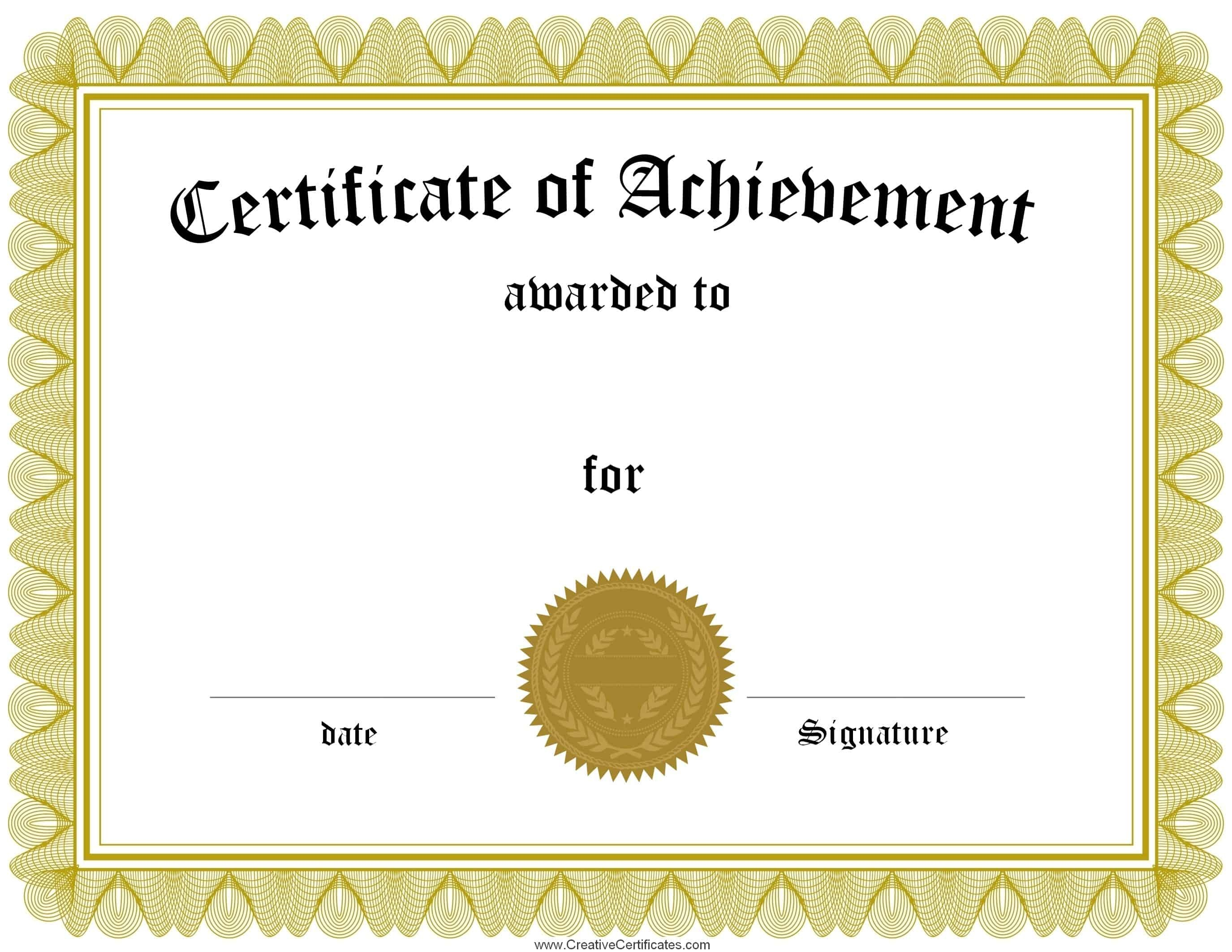 Free Customizable Certificate Of Achievement - Free Customizable Printable Certificates Of Achievement