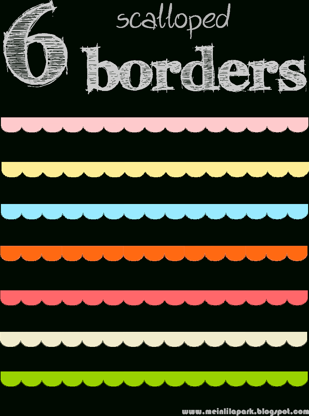 Free Digital Scalloped Scrapbooking Border Png's - Muschelränder - Free Printable Borders For Scrapbooking