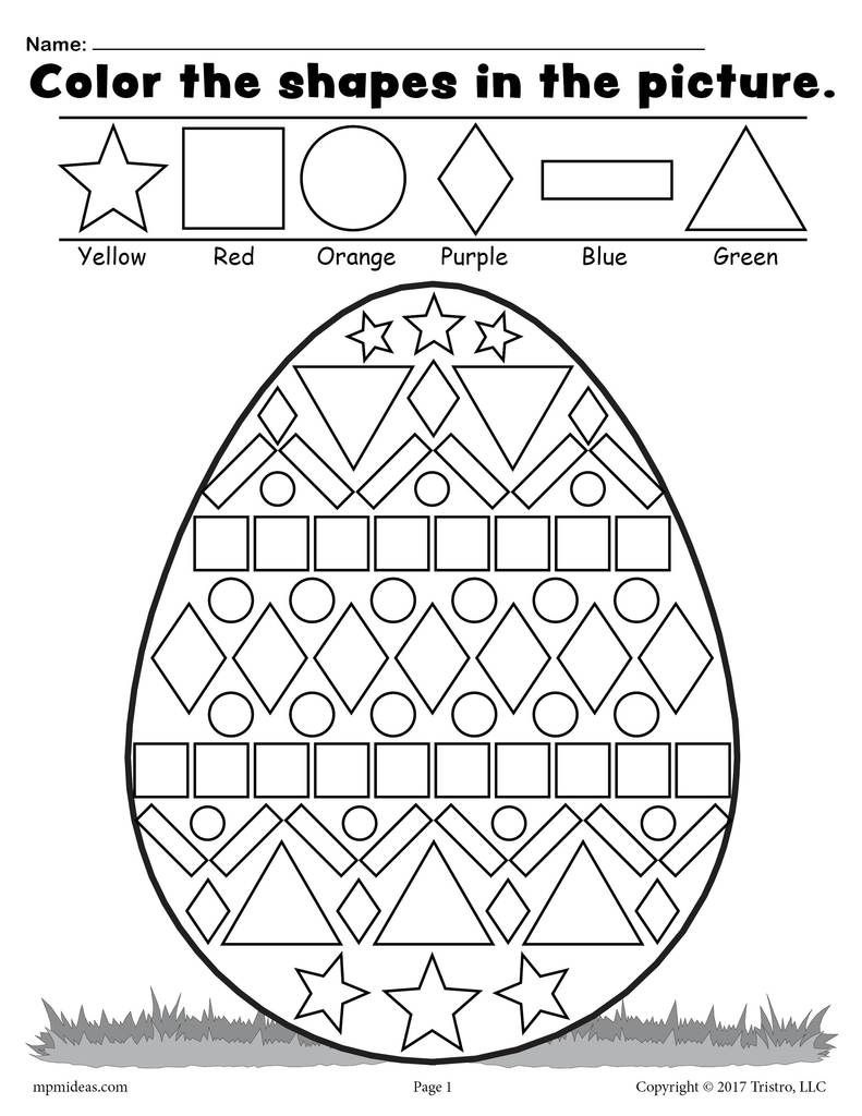 Free Easter Egg Shapes Worksheet & Coloring Page | Adventures - Free Printable Easter Worksheets For 3Rd Grade