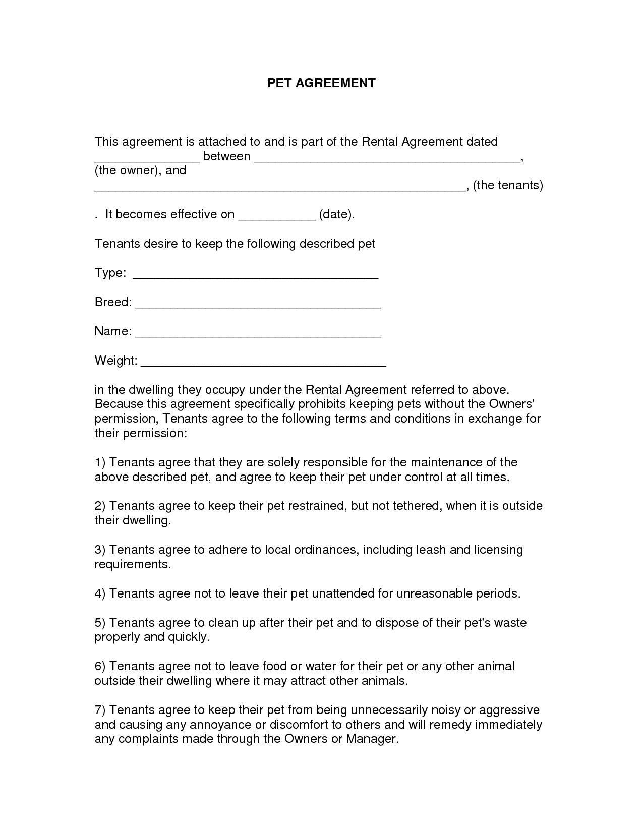 Free Easy Lease Agreement To Print | Free Printable Lease Agreement - Free Printable Basic Rental Agreement