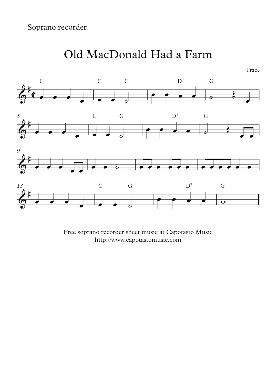 Free Easy Soprano Recorder Sheet Music - Old Macdonald Had A Farm - Free Printable Recorder Sheet Music For Beginners